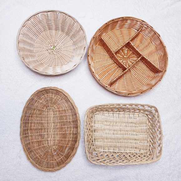 Wicker Basket Vintage Woven Wall Decor Set of 4